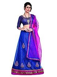 7 Colors Lifestyle Blue Coloured Net Embroidered Semi-Stitched Lehenga Choli