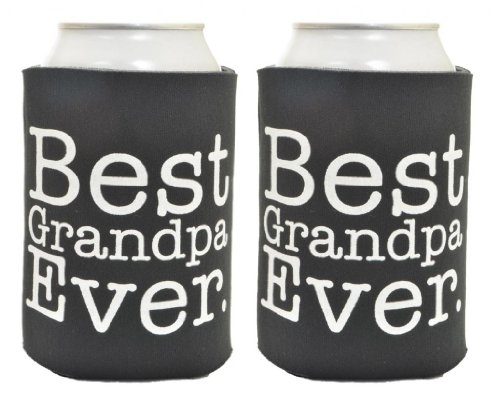 Best Grandpa Ever 2 Pack Can Coolies Black