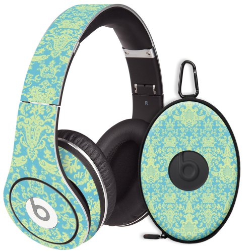 Vintage Blue Green Damask Decal Skin For Beats Studio Headphones & Carrying Case By Dr. Dre