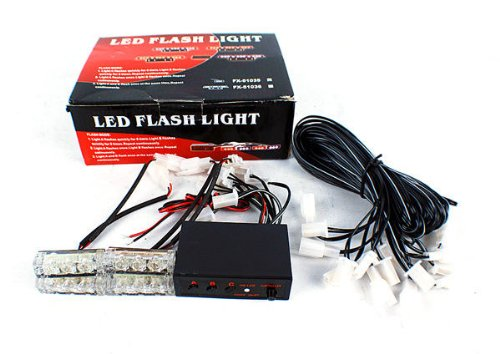 New 12 White Led Emergency Vehicle Car Strobe Light Ems Lightbars 4 Led Head