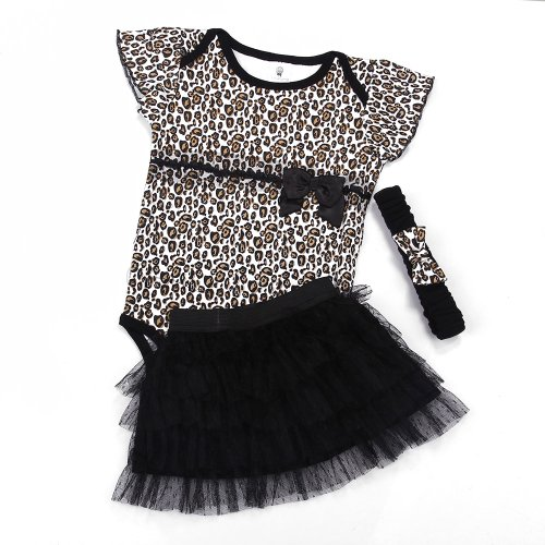 Andi Rose Baby Girl Cute Romper+Tutu Skirt+Headband Outfits (6Month, Leopard)