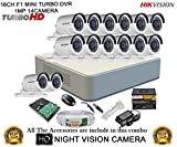 Hikvision DS-7116HGHI-F1 Mini 16CH Dvr, 14(DS-2CE16C2T-IR) Bullet Camera (With Mouse, Remote, 2TB HDD, Bnc&Dc Connectors, Power Supply,Cable )