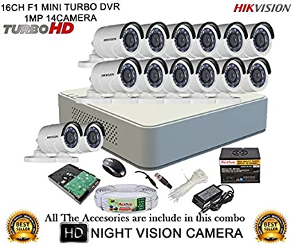 Hikvision-DS-7116HGHI-F1-16CH-Mini-Dvr,-14(DS-2CE16C2T-IRP)-Bullet-Cameras-(with-Mouse,-2TB-HDD,-Bnc&Dc-connectors,Power-Supply,Cable)