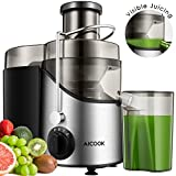 Juicer Juice Extractor, Aicook 3'' Wide Mouth Stainless Steel Centrifugal Juicer, BPA-Free, Non-Slip Feet, Three Speed Juicer Machine for Fruits and Vegetable