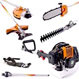 MJ Tools 52cc Petrol Multitool 5 in 1 Long Reach Multifunction Hedge Trimmer, Chainsaw Pruner, Strimmer, Brush Cutter, 1m Extension Pole, Extendable, 2.2kw/3HP