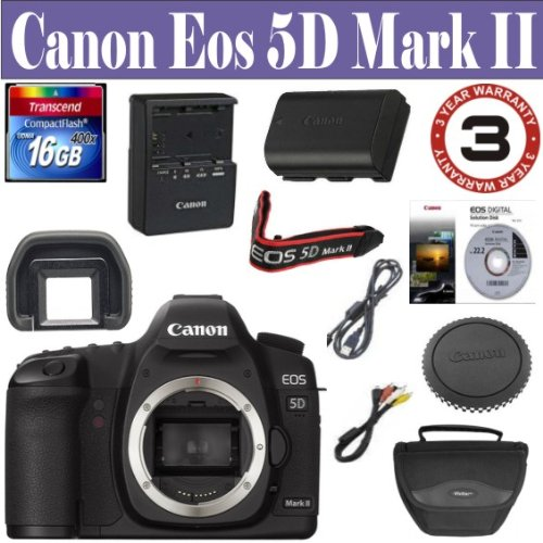 For Sale Canon EOS 5D Mark II 21.1MP Full Frame CMOS Digital SLR Camera (Body Only) 16 GIG Memory Card - Holster Case - 3 Year Warranty by 33 Street Camera