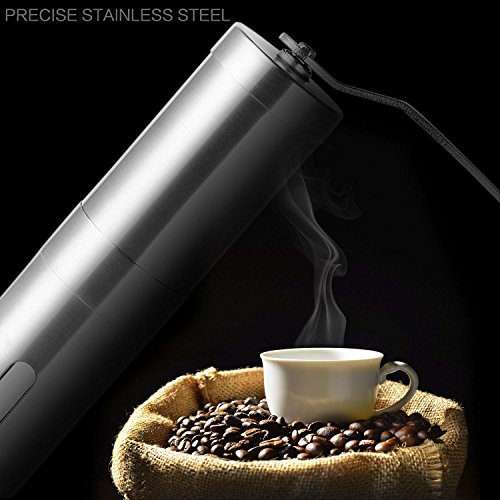 LeshionLife Stainless Steel Body Adjustable Ceramic Conical Burr Manual Coffee Grinder