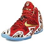 Nike Mens Lebron XI Premium 2K14 Challenge Red/Metallic Gold Synthetic Basketball Shoes Size 9