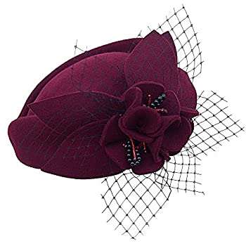 Wine Red Women Fascinator Pillbox Felt Wool Hat Formal Dress Flower Veil A131