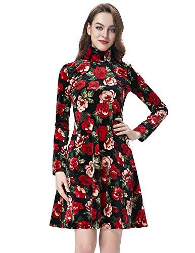 Womens Beautiful Velvet Long Sleeves Floral Casual Dresses BP150-1