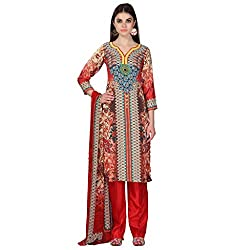 Admyrin Women Red and Beige Crepe Dress Material