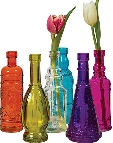 Colored Glass Bottles Decorative Glass Bottles for Bottle Tree or Flower Bud Vases - Set of 6, Multicolor, 6.5-inch Vintage Bottles