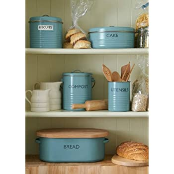 Typhoon Vintage Kitchen Tea/Coffee/Sugar Canisters, Summer House Blue, Set of 3