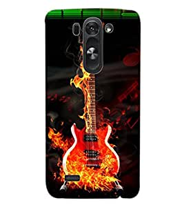 ColourCraft Burning Guitar Design Back Case Cover for LG G3 S