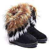 Meloo Damen Schuhe Winter Warm Boots Schnee Stiefel Warm Pelz Stiefel Stiefeletten Schneestiefel Gr.36-40 (39, Schwarz)