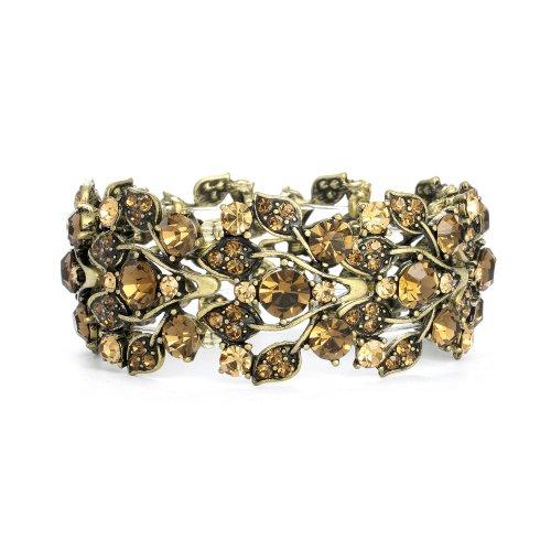 Bold Brown Crystal Vine Stretch Bracelet