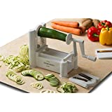 Kitchen Basics™ Ultra-Durable Tri-Blade Vegetable Turning Spiral Slicer / Spiralizer for Zucchini, Potatoes, Squash, Carrots, Cucumbers, etc. / Design vegetable stir-fries or pasta dishes / Decorate serving dishes / Veggie Slicer Cutter to Make Healthy Zucchini Noodles Spaghetti Pasta Dishes; Substitute Noodles and Spaghetti Pasta Recipes with Gluten Free & Low Carb Easy Vegetable Noodles Meals Ideas