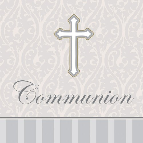 Creative Converting Devotion Cross Communion Lunch Napkins, Silver, 16 Count