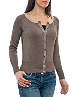 Wool Overs Women's Silk & Cotton Trimmed Cropped Cardigan