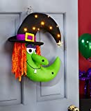 LED Lighted Hat Colorful Green Orange Spooky Friendly Witch Wreath Wall Door Hanging Halloween Decoration