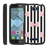 CaseAVE [GUARD SERIES] Slim Hard Shell Protective [2PCS] Case Snap on Cover [ Black Strip Bow Tie ] for Alcatel One Touch Fierce 2 7040 / Pop Icon A564C