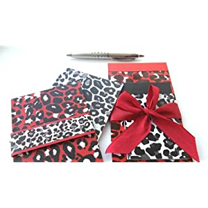 Pamela Gladding Red Hot Stationary Gift Set of 5 includes 2 List Pads, 2 Journals & Sharp Silver Pen