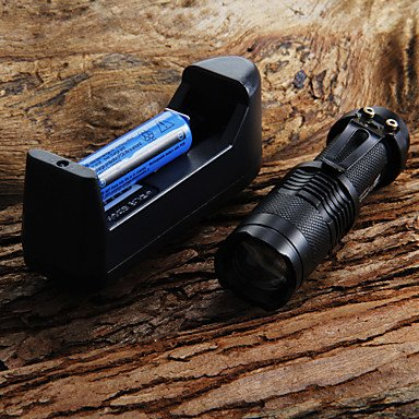 Ggb- Mini Led Torch 7W 300Lm Cree Q5 Led Flashlight Adjustable Focus Zoom Flashlight + 14500 3.6V Battery + Battery Charger