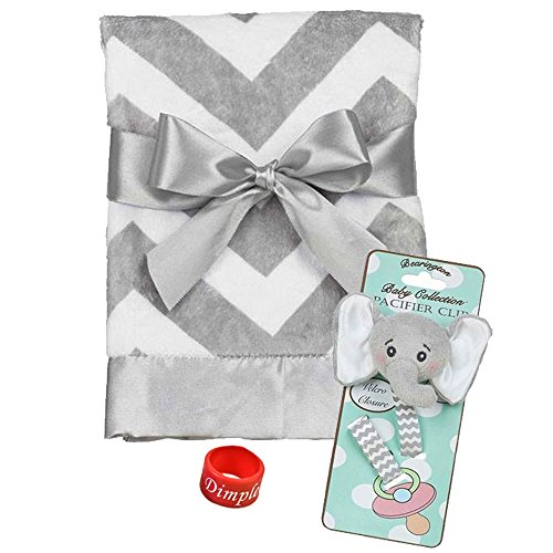 Bearington Baby Lil' Spout Pacifier Clip & Chevron Steel Snuggle Blanket with Dimple Ring (Bearington Baby Pacifier Clip compare prices)