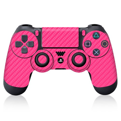 Icarbons Pink Carbon Fiber Vinyl Skin For Ps4 Dualshock Controller Sony Playstation front-310805