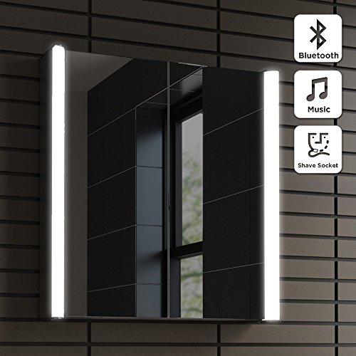 Fancy  x Illuminated LED Bathroom Mirror Cabinet Shaver Socket Bluetooth Speaker