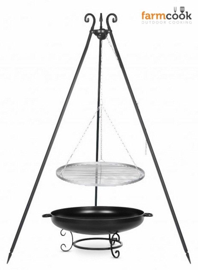 Dreibein Grill VIKING Höhe 180cm + Grillrost aus Edelstahl Durchmesser 50cm + Feuerschale Pan42 Durchmesser 60cm online kaufen