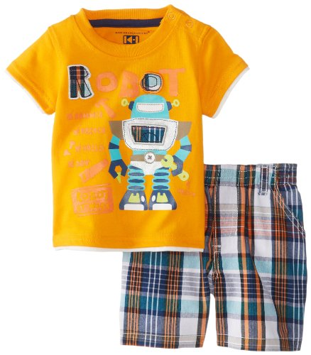 Kids Headquarters Baby-Boys Newborn Crew Neck Tee With Plaided Shorts Robot, Orange, 3-6 Months front-970182