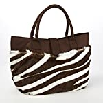 Fabulous Faux Fur Insulated Lunch Bag (Brown & White Zebra)