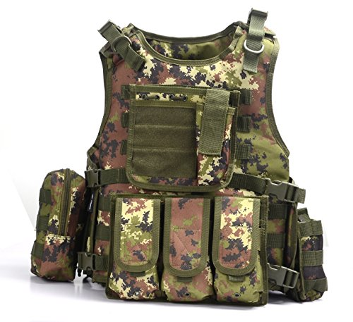YAKEDA® Ventilatori Army Tactical Vest Cs campo Swat Tactical Vest dell'esercito all'aperto Vest Cs gioco Vest Cosplay di Counter Strike gioco Vest-322 ( Italia Camouflage)