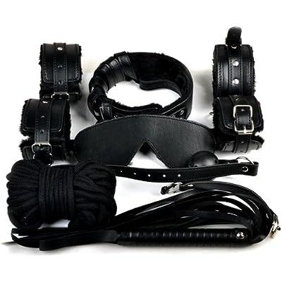 CCbunny Black High Quality Black Faux Fur Lined Bondage Set Kit - Luxury Fetish Roleplay Slave