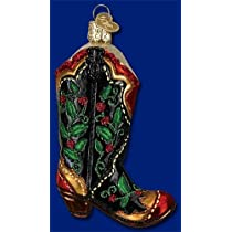HOLLY BERRY COWBOY BOOT Glass Ornament Old World Christmas