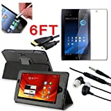 SODIAL(TM) 5 in 1 Black Leather Case with Screen Protector / Stylus / Headset / Micro HDMI Cale for Acer ICONIA TAB A100