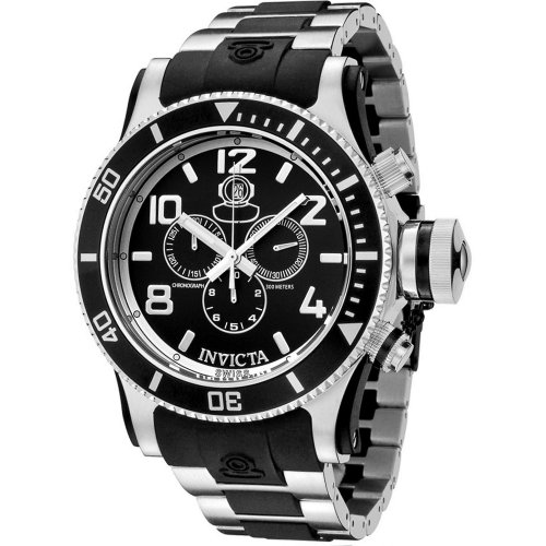 Invicta Mens 6631 Russian Diver Collection Chronograph Stainless Steel Black Rubber Watch<br />