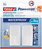 Tesa Powerstrips® 59701-00000-00 2 Crochets rectangulaires blancs + 2 Powerstrips® waterproof Large