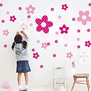 Great Value Wall Decor 2pcs All-matching Removable Wallpaper Wall Stickers with Princess Flower Pattern Large Size Pink and Purple from Mzamzi