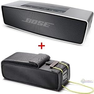 Bose SoundLink Mini Bluetooth Speaker, Upto 30 ft Wireless Range, Silver - Bundle - with Bose SoundLink Mini Bluetooth Speaker Travel Bag from BOSE