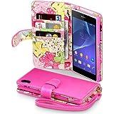 Terrapin Handy Deluxe Leder Brieftasche Case Hülle mit Kartenfächer für Sony Xperia Z2 Pink mit Blumen Interior