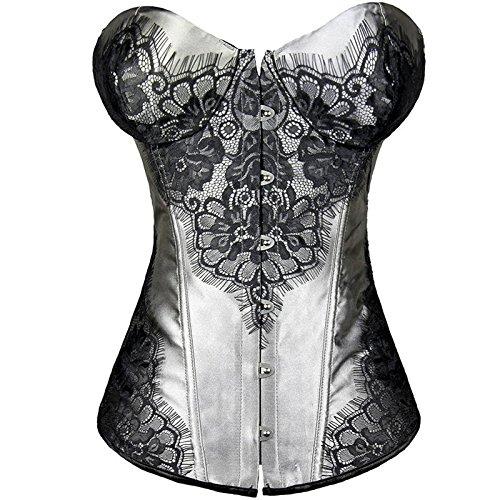 Corte corsetto corsetto fibbia in acciaio gomma osseo pizzo lacci Royal corsetto corpetto poliestere ladies , gray , s