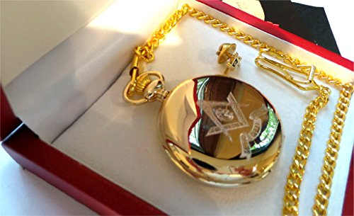 Freemasons Masonic Pure 24k Gold Lapel Pin Badge AND Pocket Watch Gift Set Brotherhood Engraved Crest Emblem in Wooden Presentation Case