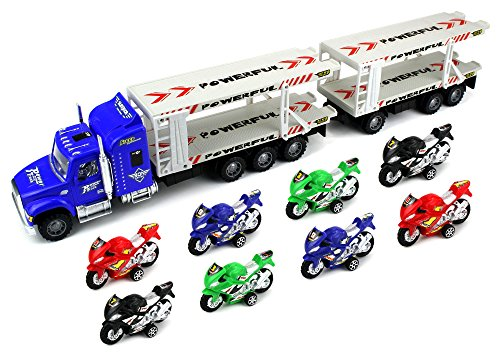 Race Motorcycle Trailer Children's Friction Toy Transporter Truck Ready To Run 1:32 Scale w/ 8 Toy Motocycles (Colors May Vary) (Motorcycle Toy Trailer compare prices)