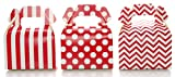 Wedding Favor Boxes, Red Christmas Holiday Candy & Gift Boxes (36 Pack) - Polka Dot, Chevron Zig-Zag, Striped Small Red Treat Boxes, Birthday Party Favor Gable Boxes