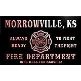 qy56386-r FIRE DEPT MORROWVILLE, KS KANSAS Firefighter Neon Sign Barlicht Neonlicht Lichtwerbung