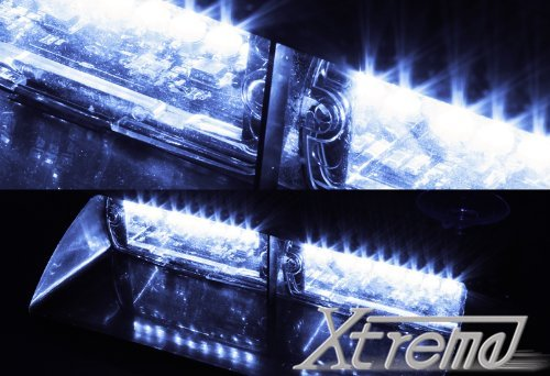 Xtreme® White 16 Led High Intensity Led Law Enforcement Emergency Hazard Warning Strobe Lights For Interior Roof / Dash / Windshield With Suction Cups