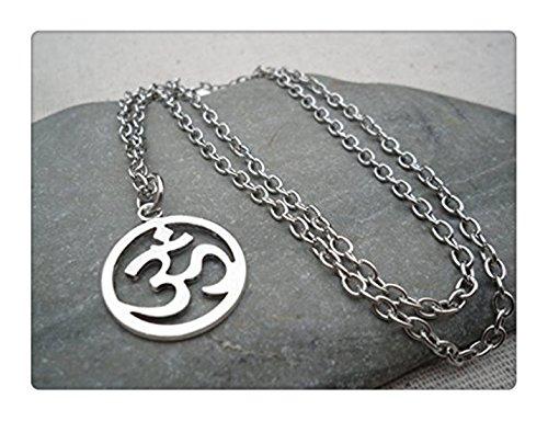 Argento ciondolo Om Ohm-Yoga meditazione collana-argento om Ohm