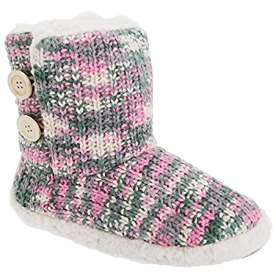 Womens/Ladies Knitted Slipper Boots With Fleece Lining